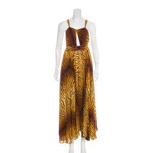 Michael Kors Silk Tiger Halter Dress